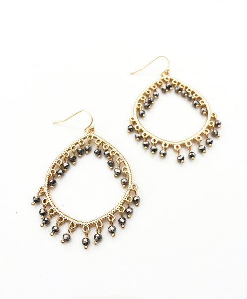 Crystal Adorned Teardrop Earrings
