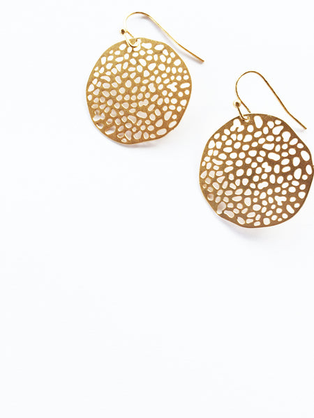 Gold Honey Comb Circle Earring