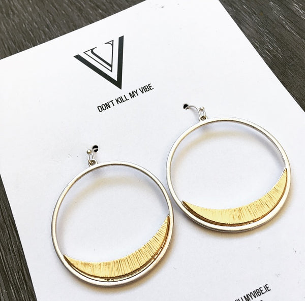 Silver Eclipse Hoop Earrings
