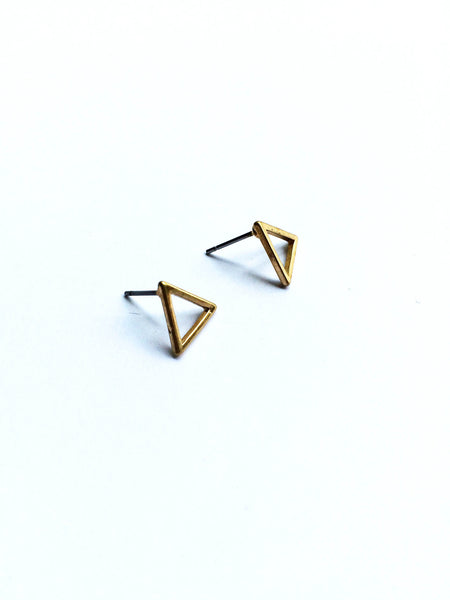 Bermuda Triangle Gold Stud Earrings