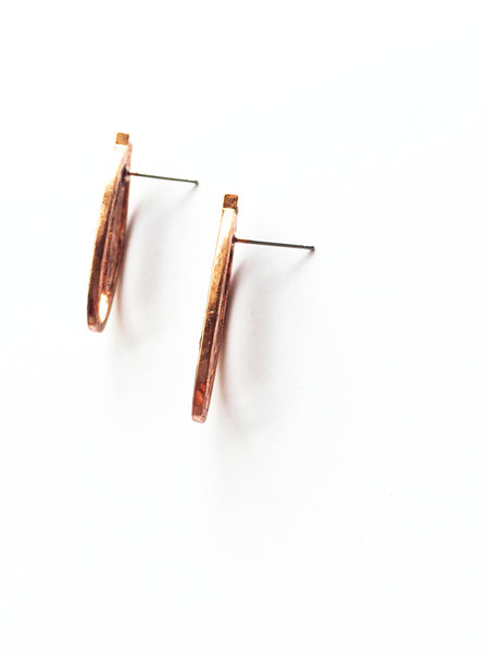 Deco Rose Bronze Stud Earrings