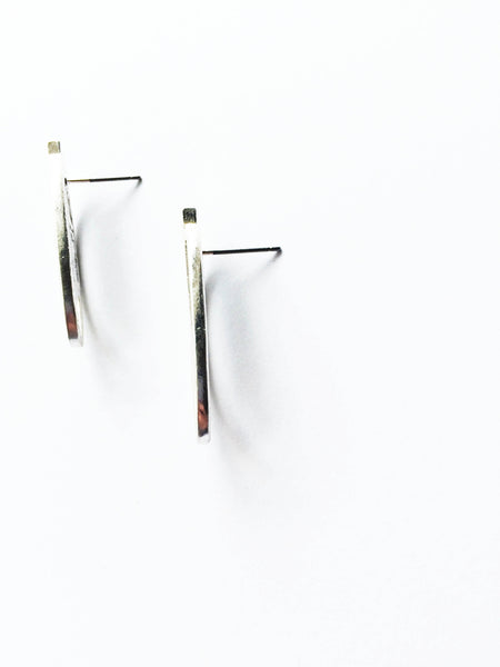Deco Silver Stud Earrings