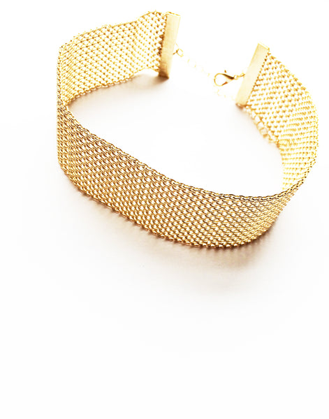 Gold Chain Mail Statement Choker