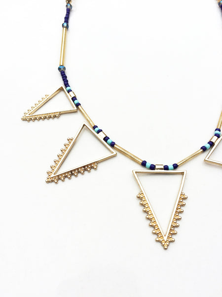Tribal Gold Beaded Necklace