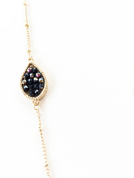 Oil Slick Beaded Tear Drop Pendant