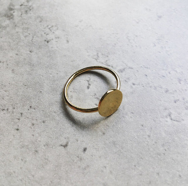 Delicate Gold Full Moon Ring