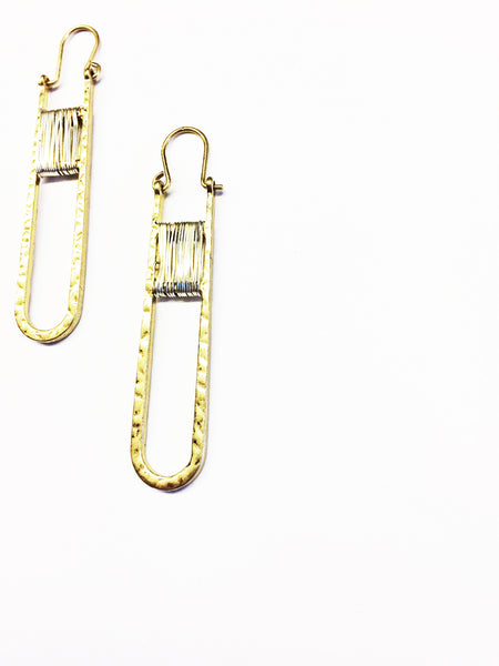 Safety Pin Earrings Gold Mixed Metal Earrings