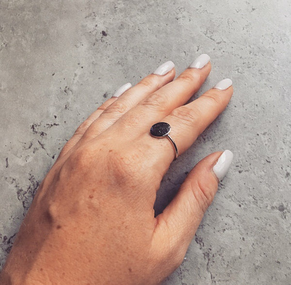 Delicate Silver Full Moon Ring