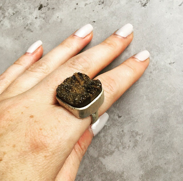Hammered Lava Ring