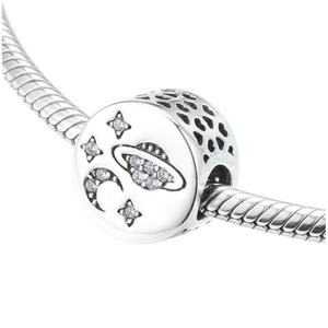 Space Moon & Stars Charm Sterling Silver | Loulu Charms
