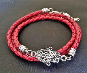 Leather Hamsa Bracelet