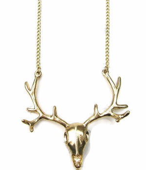 Boho Deer Skull Necklace | Deer Antler Necklace