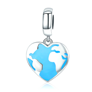 Rhythm of Earth World Map Charm Sterling Silver