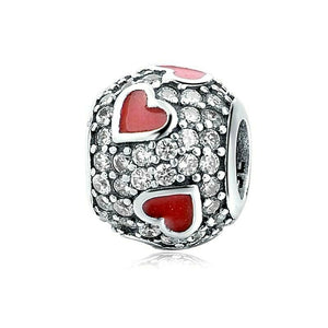 Rhinestone Red Hearts Charm Sterling Silver | Loulu Charms