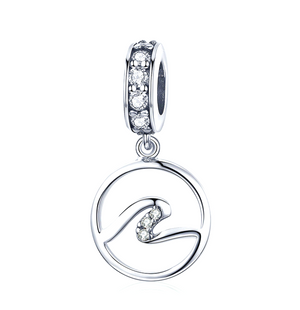 Ocean Wave Charm Sterling Silver