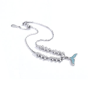 Sparkling Blue Mermaid Tail Bracelet Sterling Silver | Loulu Charms