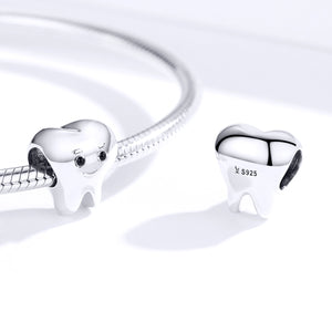 Smiling Tooth Dentist Charm Sterling Silver | Loulu Charms