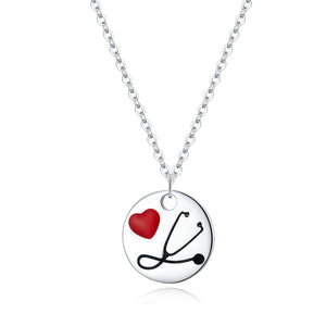 Angel in White Nurse Pendant Necklace Sterling Silver | Loulu Charms