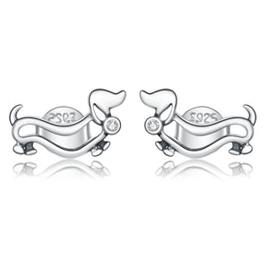 Dachshund Stud Earrings Sterling Silver | Loulu Charms
