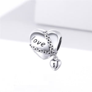 Love Forever Heart Lock Charm Sterling Silver | Loulu Charms
