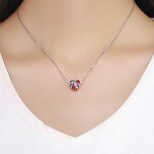 Cherry Red Crystal Bow Tie Bead Sterling Silver | Loulu Charms