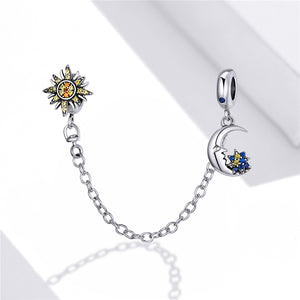 Sun and Moon Safety Chain Charm Sterling Silver | Loulu Charms