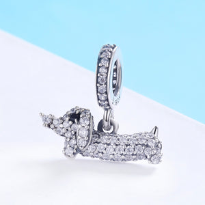 Sparkling Dachshund Charm Sterling Silver | Loulu Charms