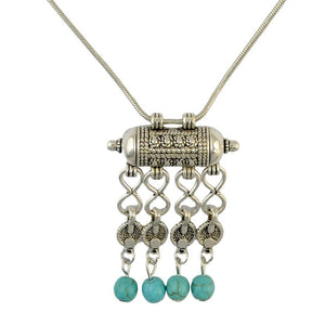Silver Gypsy Necklace with Turquoise Beads