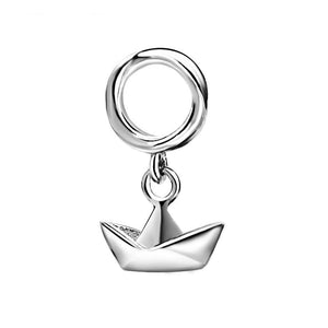 Origami Boat Charm Sterling Silver