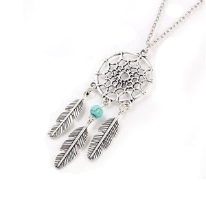 Turquoise Dream Catcher Necklace with Feathers