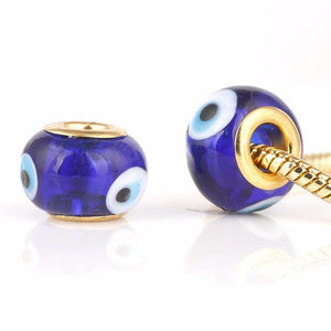 Evil Eye Glass Gold Charm