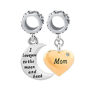 Mom I Love You to the Moon & Back Charm Sterling Silver
