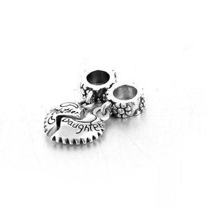 Mother & Daughter Heart Charm Sterling Silver