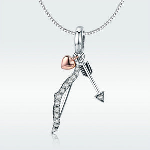 Cupid's Sparkling Bow and Arrow Charm Sterling Silver