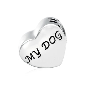Love My Dog Heart Charm Sterling Silver