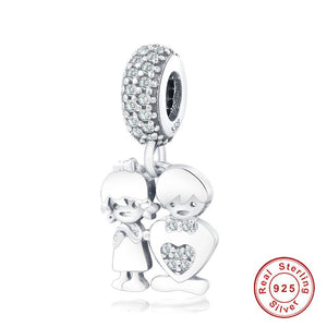 Boy & Girl Charm Sterling Silver