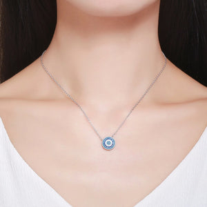 Blue Cubic Zircons Evil Eye Pendant Necklace Sterling Silver | Loulu Charms
