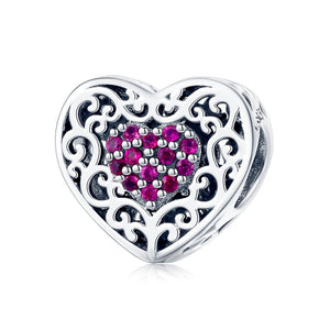 Sparkling Radiant Heart Charm Sterling Silver | Loulu Charms
