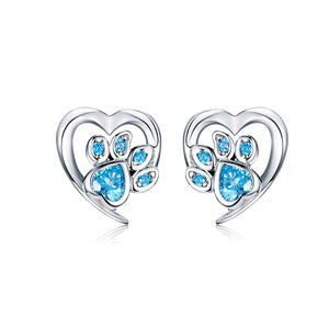 Heart Shaped Sparkling Dog Paw Stud Earrings Sterling Silver for Women | Loulu Charms