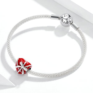 Gift of Love Red Enamel Heart Charm Sterling Silver | Loulu Charms