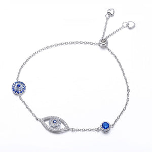 Adorable Sterling Silver Sparkling Evil Eye Bracelet | Loulu Charms