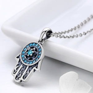 Hamsa Cubic Zircon Pendant Necklace Sterling Silver | Loulu Charms