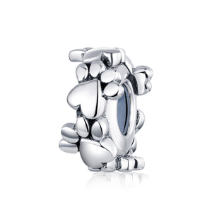 Dog Paws Spacer Charm Sterling Silver for charm bracelet | Loulu Charms