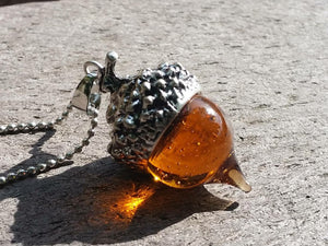 Glaze Glass Acorn Necklace