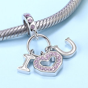 I Love You Heart Charm Sterling Silver | Loulu Charms