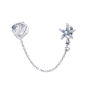 Starfish & Shell Ocean Safety Chain Charm Sterling Silver | Loulu Charms