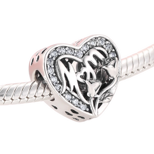 Mom Heart Charm Sterling Silver | Loulu Charms
