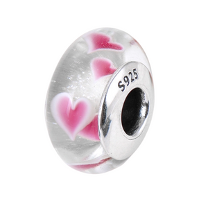 Pink Hearts Murano Glass Charm Sterling Silver | Loulu Charms