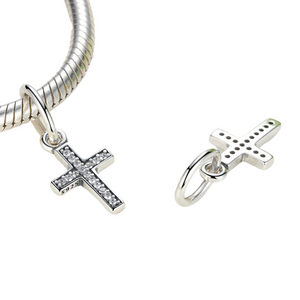 Symbol of Faith Cross Dangle Charm Pendant Sterling Silver | Loulu Charms