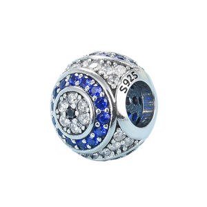 Blue & White Crystal Evil Eye Bead Charm Sterling Silver| Loulu Charms